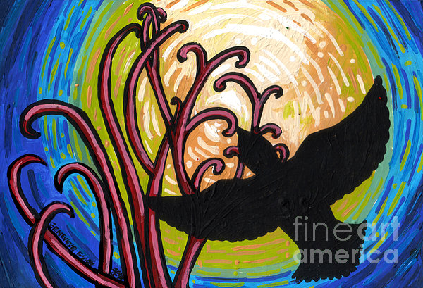 Crow And Full Moon In Winter Print by Genevieve Esson