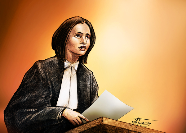Crown Stephanie Venne Reads Daryn's Statement At The Rafferty's Sentencing Print by Alex Tavshunsky