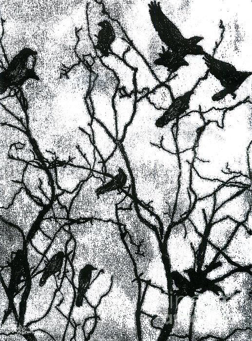 Crows In Winter - Monotype Print by Rachel Breen