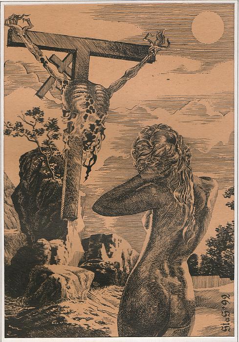 Crucifixion Print by Sirenko