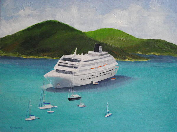 Cruise Ship Off Charlotte Amalie Print by Robert Rohrich