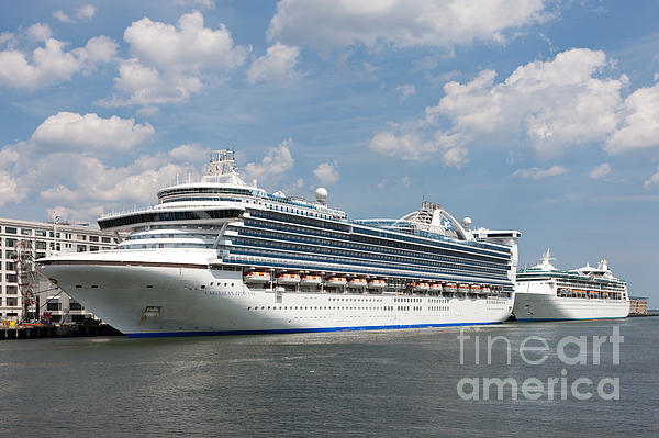 Cruise Ships At Cruiseport Boston Print by Clarence Holmes