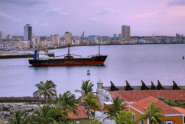 Cuba. Cargo Ship Leaving Havana Bay. Print by Juan Carlos Ferro Duque