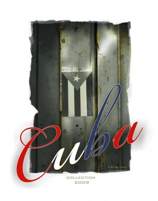 Cuban Flag On Door Print by Bob Salo