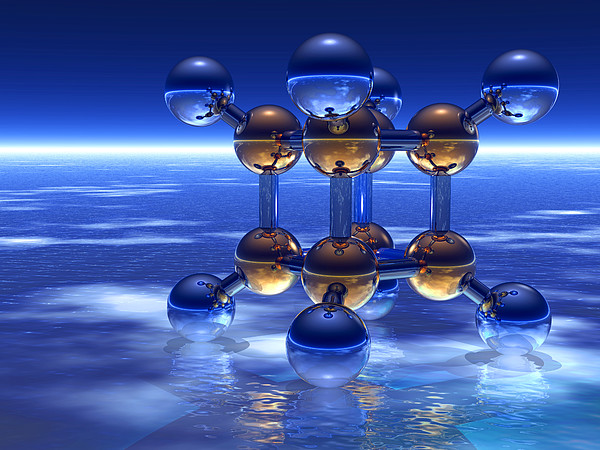 Cubane Molecule Print by Laguna Design