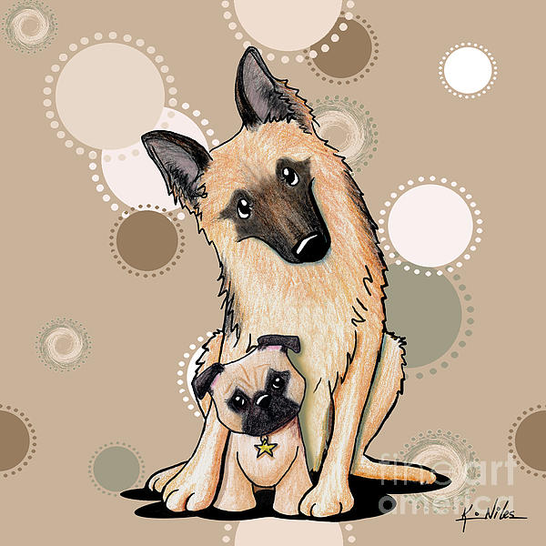 Curious Latte Dots Duo Print by Kim Niles