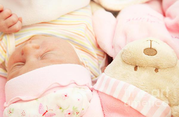 Cute Little Baby Sleeping Print by Anna Omelchenko