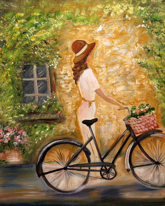 Cycling saunter by ann iuen for Bicycle painting near me