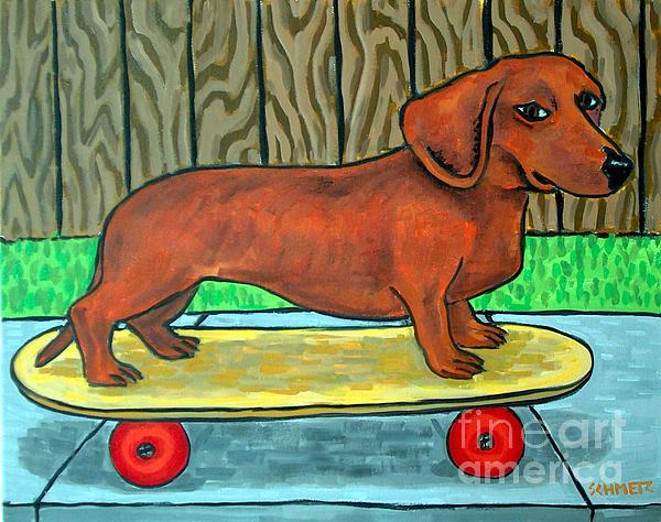 Dachshund Skateboarding Print by Jay  Schmetz