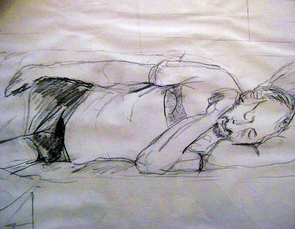 Dad Sleeping Print by Iris Gill