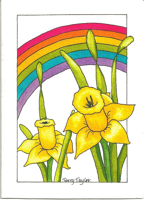 Daffodils And Rainbows Print by Terry Taylor