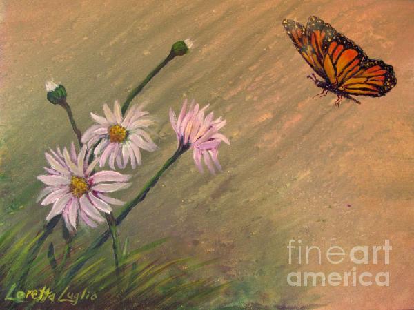 Loretta Luglio - Daisies and Butterfly
