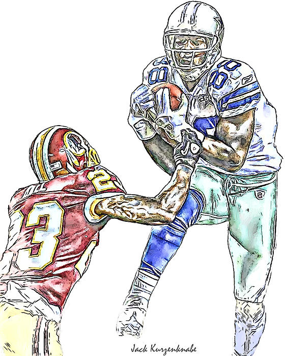 Dallas Cowboys Dez Bryant Washington Redskins Deangelo Hall Print by Jack K