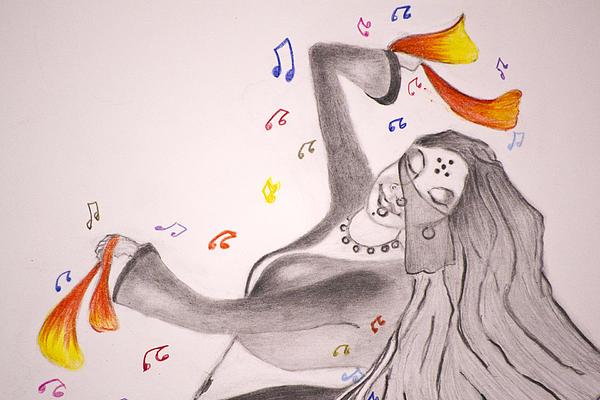 Dance With Veil II Print by Jalal Gilani