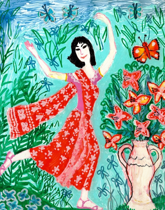 Dancer In Red Sari Print by Sushila Burgess