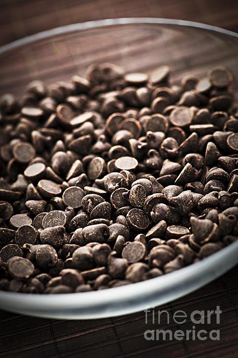 Dark Chocolate Chips Print by Elena Elisseeva