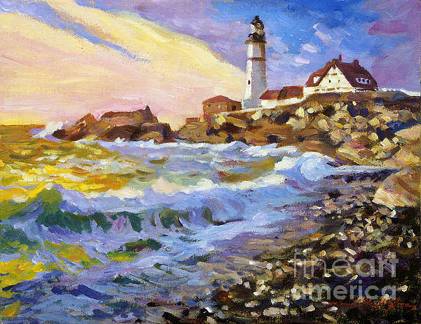 Dawn Breaks Cape Elizabeth Plein Air Print by David Lloyd Glover