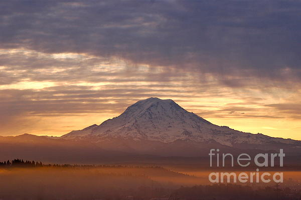 Dawn Mist About Mount Rainier Photograph