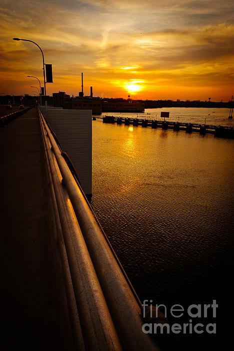 De Pere Bridge Sunset Print by Shutter Happens Photography