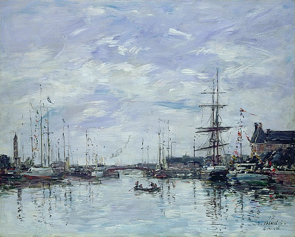 Deauville The Dock Print by Eugene Louis Boudin