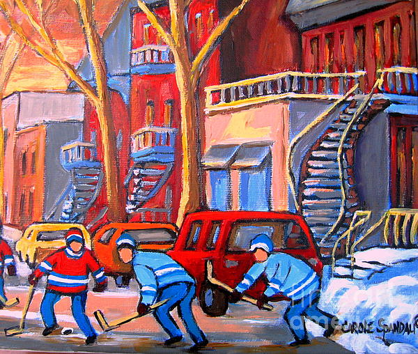 Debullion Street Hockey Stars Painting  - Debullion Street Hockey Stars Fine Art Print