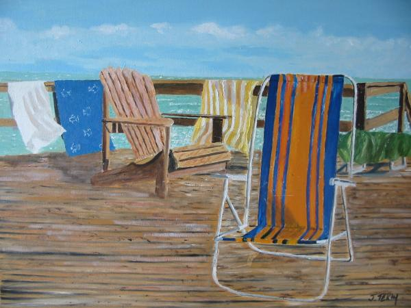 Deck Chairs Painting by John Terry - Deck Chairs Fine Art Prints and