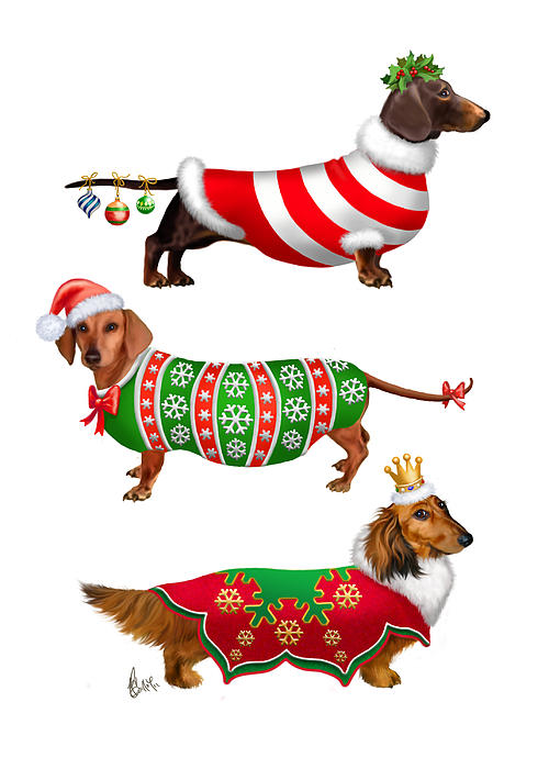 Decorative Dachshunds Print by Michelle Guillot