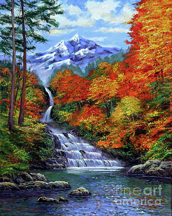 Deep Falls In Autumn Painting  - Deep Falls In Autumn Fine Art Print