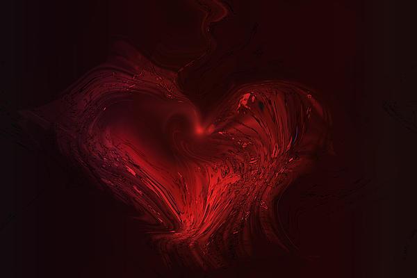 Deep Hearted Print by Linda Sannuti