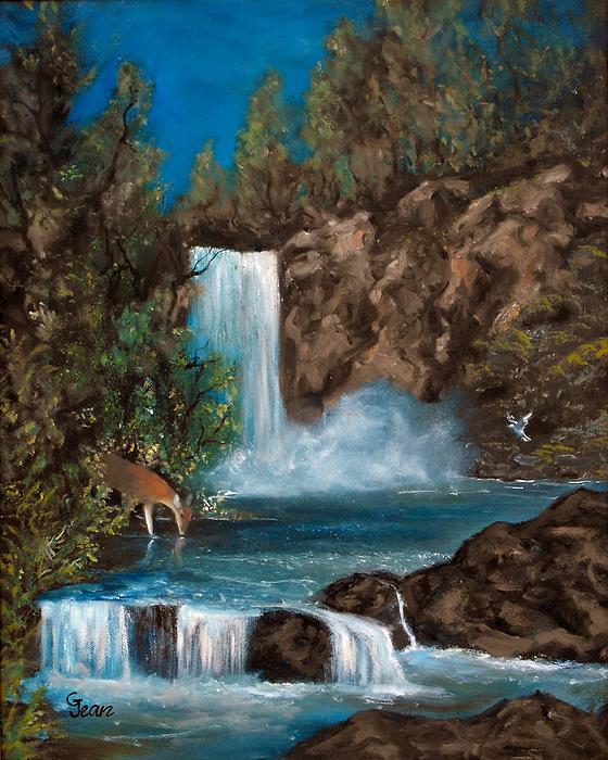 Deer Falls Print by Gloria Jean
