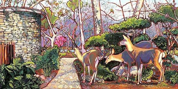 Deer In Baer Garden Print by Nadi Spencer