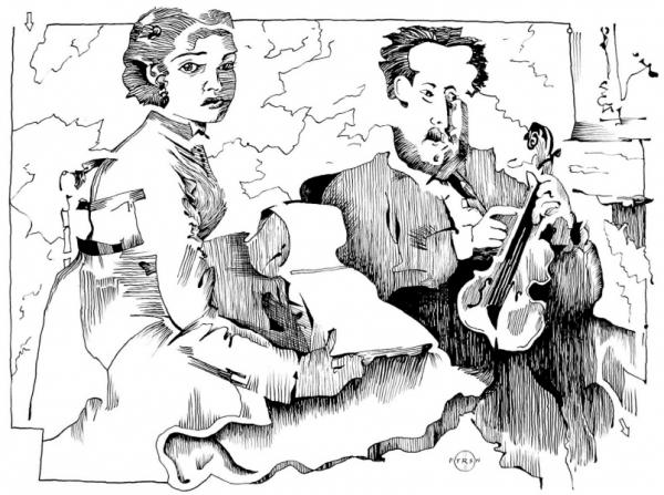 Degas Violin Teacher And Young Woman Drawing 