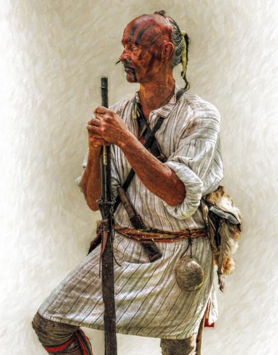Delaware Indian Warrior Portrait 1763 Print by Randy Steele