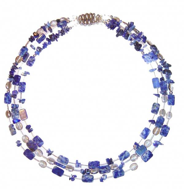 Denim Sea Lapis Gemstone Necklace  Jewelry 