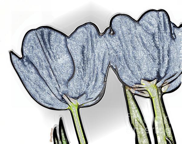 Denim Tulips Print by Cheryl Young