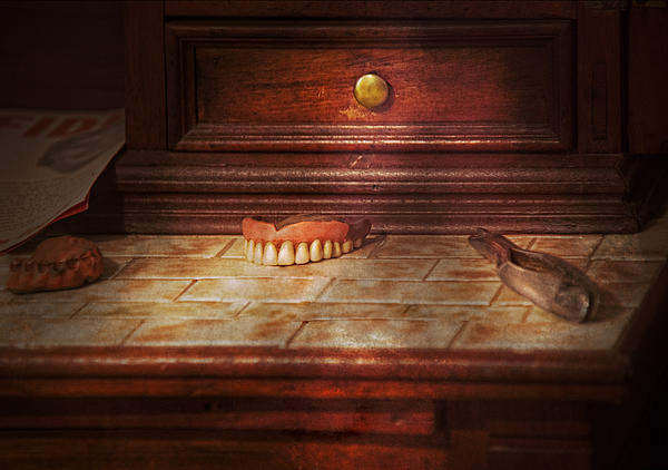 Dentist - False Teeth Print by Mike Savad