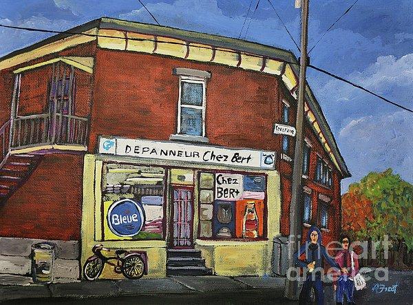 Depanneur Chez Bert Montreal Print by Reb Frost