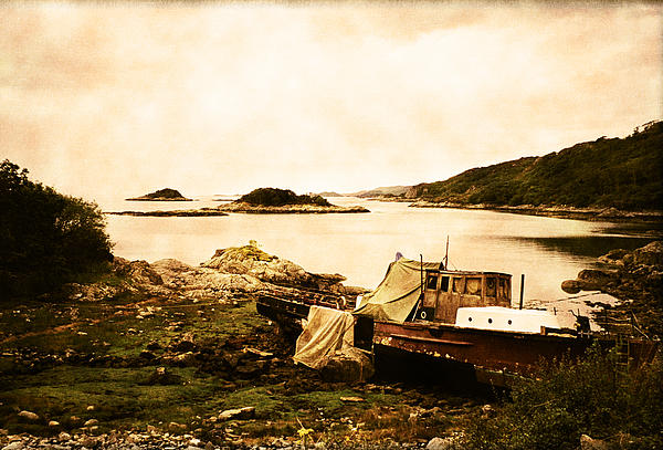 Derelict Boat In Outer Hebrides Print by Jasna Buncic