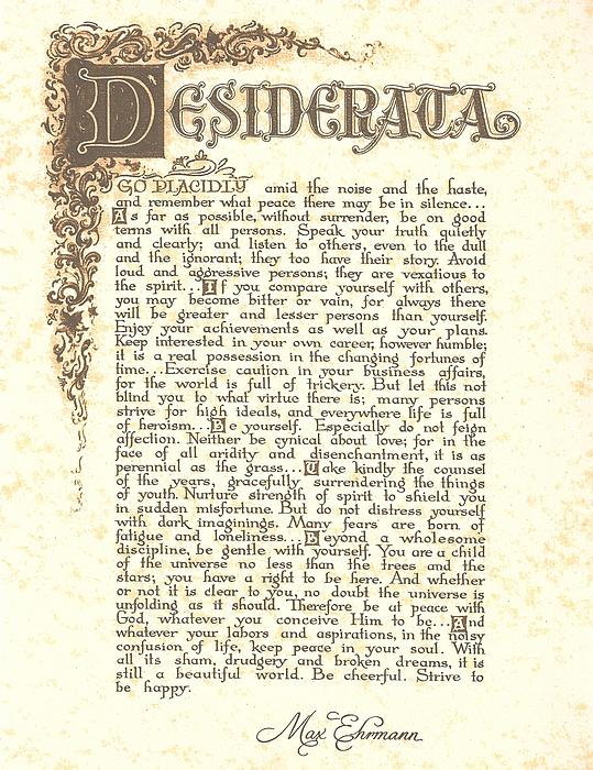 Desiderata 4 Print by Claudette Armstrong