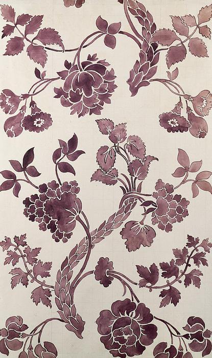 Design For A Silk Damask Print by Anna Maria Garthwaite