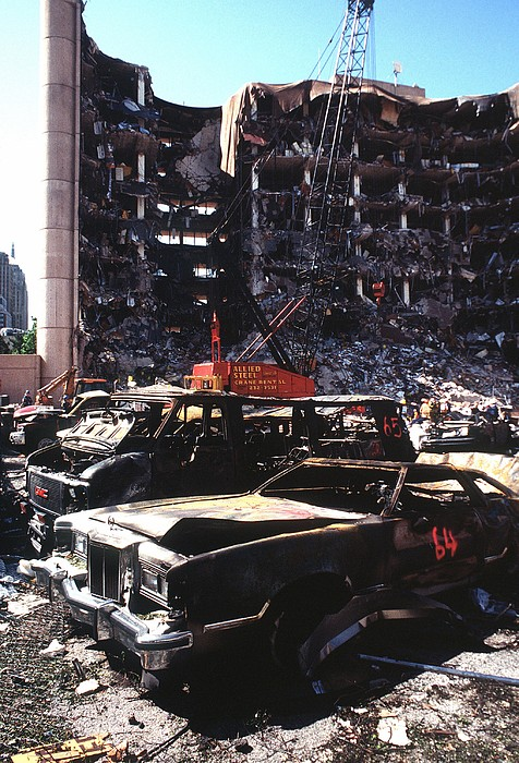 Destroyed Automobiles Near The Bombed Print by Everett