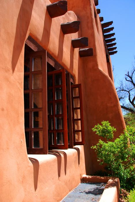 Detail Of A Pueblo Style Architecture In Santa Fe Greeting