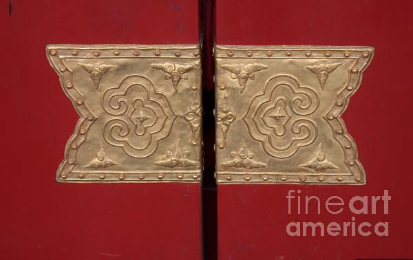 Detail Of Red Door In Forbidden City Beijing China Photograph  - Detail Of Red Door In Forbidden City Beijing China Fine Art Print
