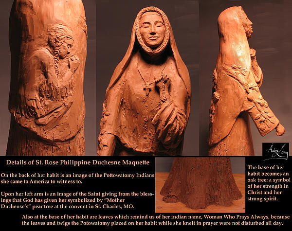 Details Of Symbols On Saint Rose Philippine Duchesne Sculpture. Print by Adam Long