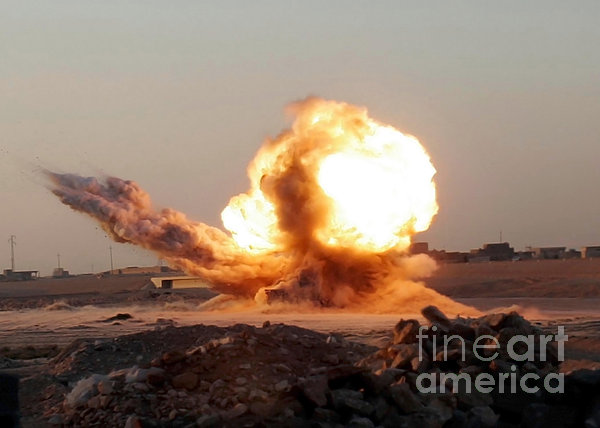 Detonation Of A Weapons Cache Print by Stocktrek Images