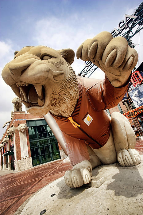Detroit Tigers Tiger Statue Outside Of Comerica Park Detroit Michigan Print by Gordon Dean II
