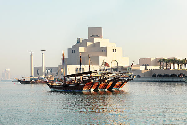 Dhows And Museum Print by Paul Cowan