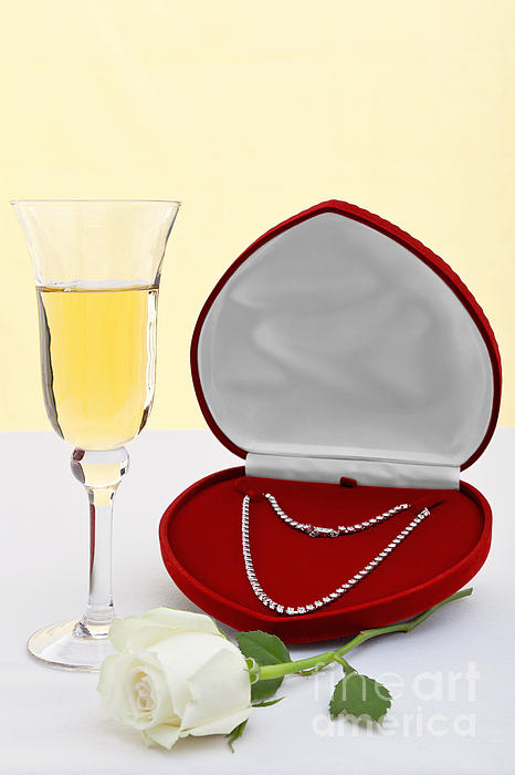 Diamond Necklace With Champagne And White Rose. Print by Richard Thomas