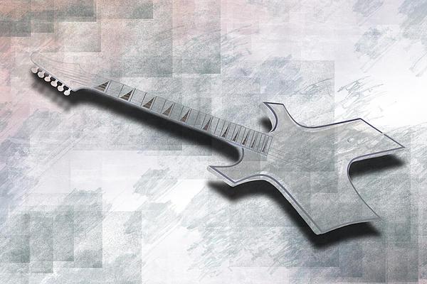 Digital-art E-guitar IIi Print by Melanie Viola