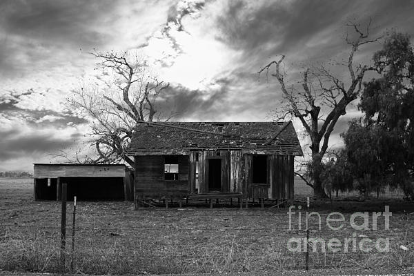 Dilapidated Old Farm House . 7d10341 . Black And White Print by Wingsdomain Art and Photography